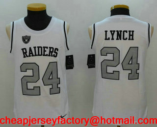 058192ef Men's Oakland Raiders #24 Marshawn Lynch White Color Rush 2017 Vest  Stitched NFL Nike Tank Top Jersey