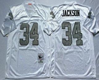 watch 543d5 96dbd Men's Oakland Raiders #34 Bo Jackson White With Silver ...