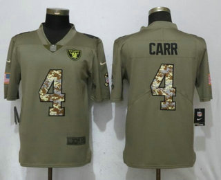 d62e70ca8ca Men s Oakland Raiders  4 Derek Carr Olive With Camo 2017 Salute To Service Stitched  NFL Nike Limited Jersey