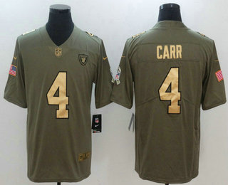 fb1bb67a42d ... Nike Limited Jersey   21.5. Men s Oakland Raiders  4 Derek Carr Olive  with Gold 2017 Salute To Service Stitched NFL
