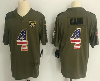 low priced 0f69b a7d19 Men's Oakland Raiders #4 Derek Carr Olive with USA Flag 2017 ...