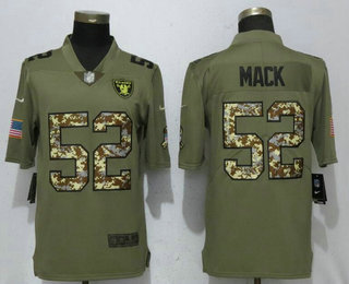c2ddcb10240 Men's Oakland Raiders #52 Khalil Mack Olive With Camo 2017 Salute To  Service Stitched NFL