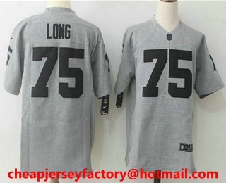 the latest a99d4 6485f Men's Oakland Raiders #75 Howie Long Gray Gridiron Stitched ...