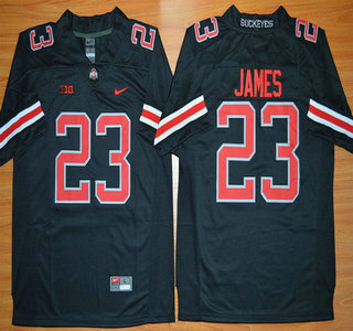 Men's Ohio State Buckeyes #23 Lebron James Black With Red 2015 College Football Nike Limited Jersey