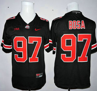 5ae469e7f2c Men's Ohio State Buckeyes #97 Joey Bosa Black With Red College Football  Nike Limited Jersey