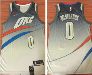Men s Oklahoma City Thunder  0 Russell Westbrook Grey NBA Swingman City  Edition Jersey 87e7b739a