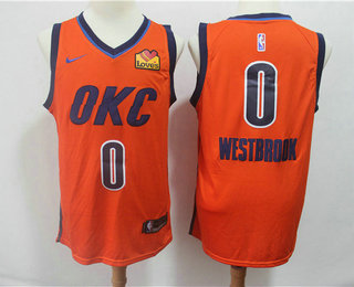 official photos f4067 382ec Men's Oklahoma City Thunder #0 Russell Westbrook Orange Nike ...