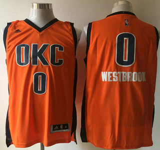 af033a91b Men s Oklahoma City Thunder  0 Russell Westbrook Revolution 30 Swingman 2015-16  New Orange Jersey