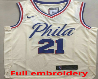 7255eff3804 Men s Philadelphia 76ers  21 Joel Embiid Cream 2017-2018 Nike Swingman ALL  Stitched NBA Jersey