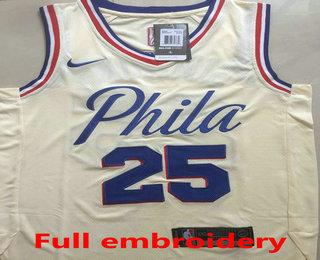 brand new 6c7b5 d8c86 Men's Philadelphia 76ers #25 Ben Simmons Cream 2017-2018 ...