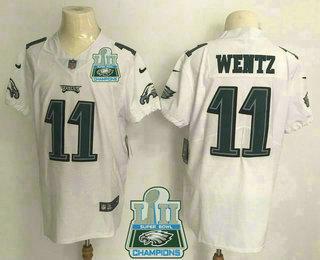 Nice Men's Philadelphia Eagles #11 Carson Wentz White 2018 Super Bowl LII