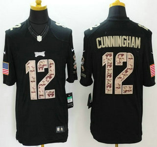 9a592a44e45 Men's Philadelphia Eagles #12 Randall Cunningham Black Salute to Service  Retired Player NFL Nike Limited