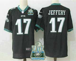 06b3f6205f3 Men's Philadelphia Eagles #17 Alshon Jeffery Black 2018 Super Bowl LII  Champions Patch Alternate NFL Nike Game Jersey