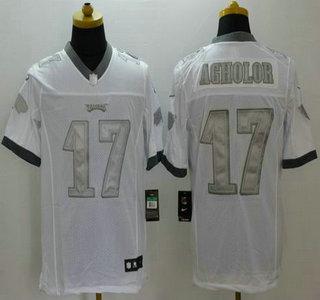 4729aa5eea6 Men's Philadelphia Eagles #17 Nelson Agholor Nike White Platinum Limited  Jersey