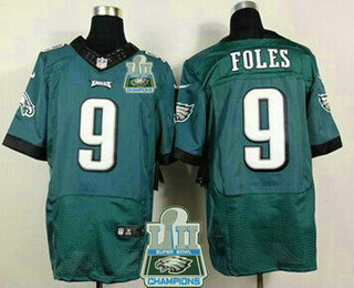 17f56a2dc4a Men's Philadelphia Eagles #9 Nick Foles Midnight Green 2018 Super Bowl LII  Champions Patch Team Color NFL Nike Elite Jersey