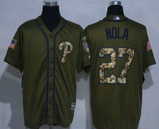 20ccc7b85 Men s Philadelphia Phillies  27 Aaron Nola Green Salute to Service Cool  Base Stitched MLB Jersey