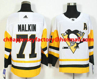 official photos f1d77 e626b Men's Pittsburgh Penguins #71 Evgeni Malkin White 2017-2018 ...
