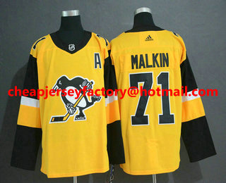 newest bce99 c2360 Men's Pittsburgh Penguins #71 Evgeni Malkin Yellow Alternate ...
