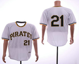 finest selection 2285f e509a Men's Pittsburgh Pirates #21 Roberto Clemente White Pullover ...