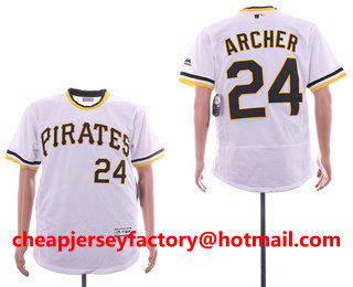 cheaper 9ef9a aad65 Men's Pittsburgh Pirates 24 Chris Archer White Pullover ...