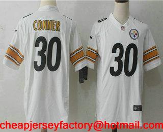 best loved 6938c 1edb7 Men's Pittsburgh Steelers #30 James Conner White Road ...