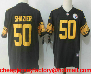 f9dc80523f1 ... Mens Pittsburgh Steelers 50 Ryan Shazier Black 2016 Color Rush Stitched  NFL Nike Limited Jersey ...