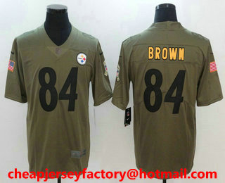 c3464df7e Men s Pittsburgh Steelers  84 Antonio Brown Olive 2017 Salute To Service  Stitched NFL Nike Limited