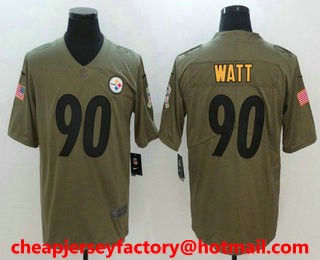 e498ed02f67 Men s Pittsburgh Steelers  90 T. J. Watt Olive 2017 Salute To Service  Stitched NFL Nike Limited