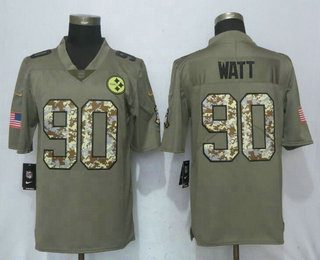 9507b3398e1 Men's Pittsburgh Steelers #90 T. J. Watt Olive With Camo 2017 Salute To  Service Stitched NFL Nike Limited Jersey