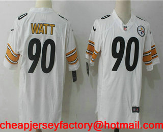 cheap for discount 44a5c ad90c Men's Pittsburgh Steelers #90 T. J. Watt White Road Stitched ...