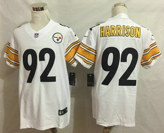 low priced 49811 8d9e6 Men's Pittsburgh Steelers #92 James Harrison White 2017 ...