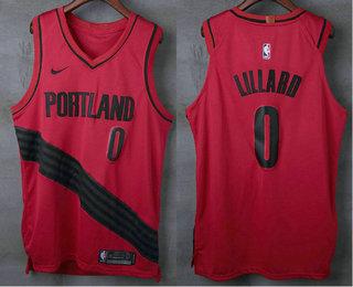 Men S Portland Trail Blazers 0 Damian Lillard New Red 2017 2018 Nike Authentic Stitched Nba Jersey