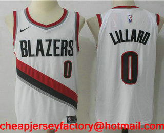 6373c74feb4 Men s Portland Trail Blazers  0 Damian Lillard New White 2017-2018 Nike  Swingman Stitched NBA Jersey