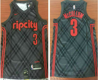5fa211bfd Men s Portland Trail Blazers  3 C.J. McCollum Grey 2017-18 Nike City  Edition Swingman Jersey