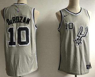 9ff03531739 Men's San Antonio Spurs #10 DeMar DeRozan Grey 2018 Nike Swingman Stitched  NBA Jersey