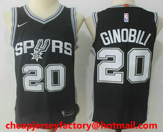 b29ab3529 Men s San Antonio Spurs  20 Manu Ginobili Black 2017-2018 Nike Authentic  Stitched NBA