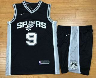 Men s San Antonio Spurs  9 Tony Parker Black 2017-2018 Nike Swingman  Stitched NBA Jersey With Shorts 313baa0d9