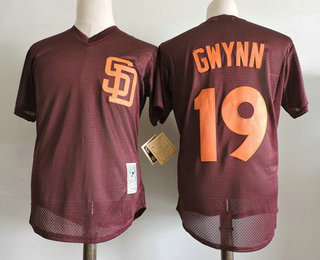 the latest 84472 0f6b4 Men's San Diego Padres #19 Tony Gwynn Brown Mesh Batting ...