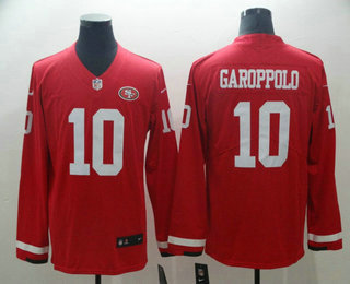 682ffef49f2 Men s San Francisco 49ers  10 Jimmy Garoppolo Nike Red Therma Long Sleeve Limited  Jersey