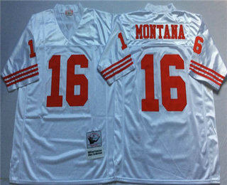 huge selection of 8981f 9027c Men's San Francisco 49ers #16 Joe Montana White Mitchell ...