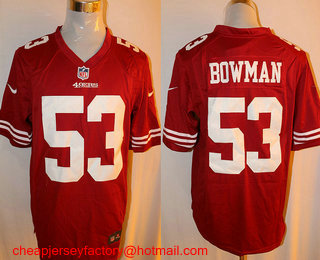 5f4fc02bc Men s San Francisco 49ers  53 NaVorro Bowman Scarlet Red Team Color NFL Nike  Game Jersey