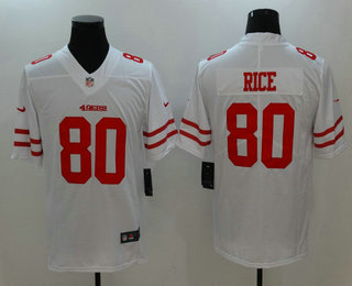 23a0a055a98 Men s San Francisco 49ers  80 Jerry Rice White 2017 Vapor Untouchable  Stitched NFL Nike Limited Jersey