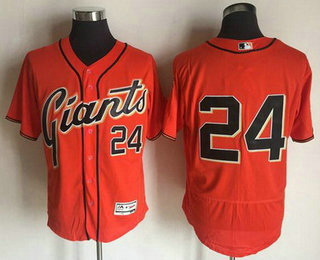 Men's San Francisco Giants #24 Willie Mays Retired Orange 2016 Flexbase Majestic Baseball Jersey