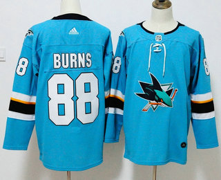 100% authentic 670b3 aef00 Men's San Jose Sharks #88 Brent Burns Teal Blue 2017-2018 ...