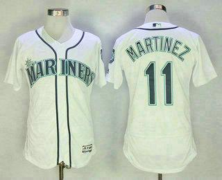 Men s Seattle Mariners  11 Edgar Martinez Retired White Stitched MLB Flex  Base Jersey b16356a86
