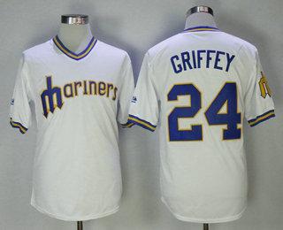 f0f3b1bcb56 Men s Seattle Mariners  24 Ken Griffey Jr. White Pullover MLB Baseball  Jersey