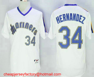 Men's Seattle Mariners #34 Felix Hernandez White Pullover Stitched MLB Majestic 1984 Turn Back the Clock Jersey
