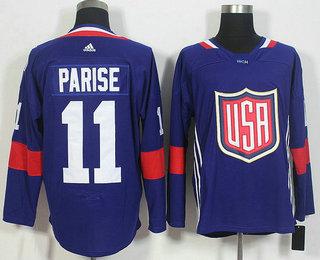 Men's Team USA #11 Zach Parise Navy Blue 2016 World Cup of Hockey Game Jersey