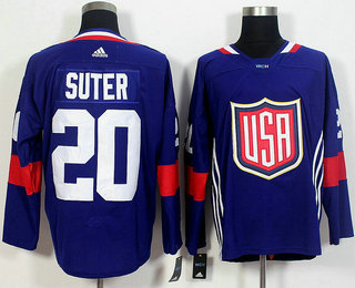 Men's Team USA #20 Ryan Suter Navy Blue 2016 World Cup of Hockey Game Jersey