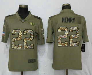 79010b533ae Men s Tennessee Titans  22 Derrick Henry Olive With Camo 2017 Salute To  Service Stitched NFL Nike Limited Jersey